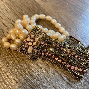 Jewelry - Antique Multi-Strand Pearl & Chain Bracelet